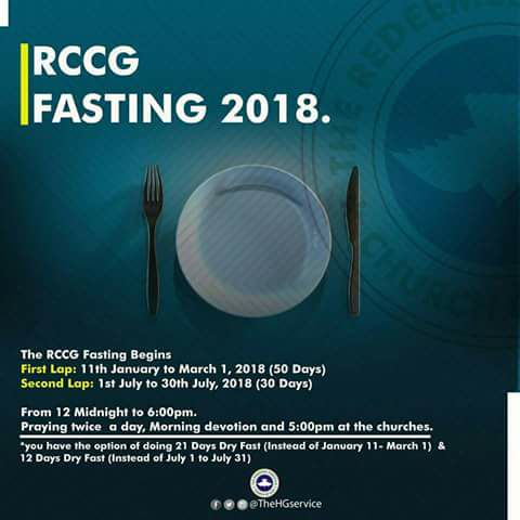 RCCG 21 Days Fasting and Prayer Points July 2018 [Second Lap]