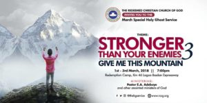 RCCG Holy Ghost Service March 2018