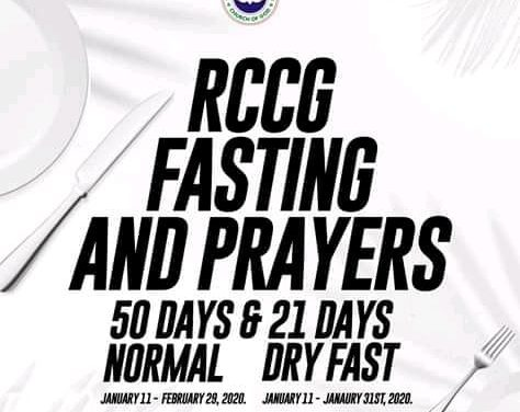 RCCG 2020 Fifty Days Fasting and Prayer Points