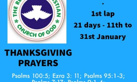 RCCG Fasting and Prayer Points 2021